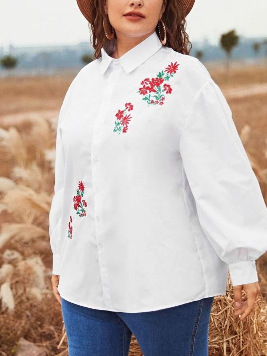 Cămașă albă cu broderie florală