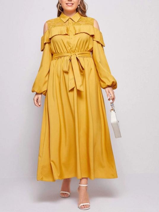 Rochie eleganta cu guler si cordon în talie