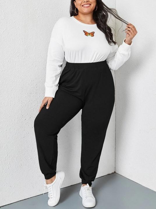 Pantaloni de dimensiuni mari cu talie înaltă